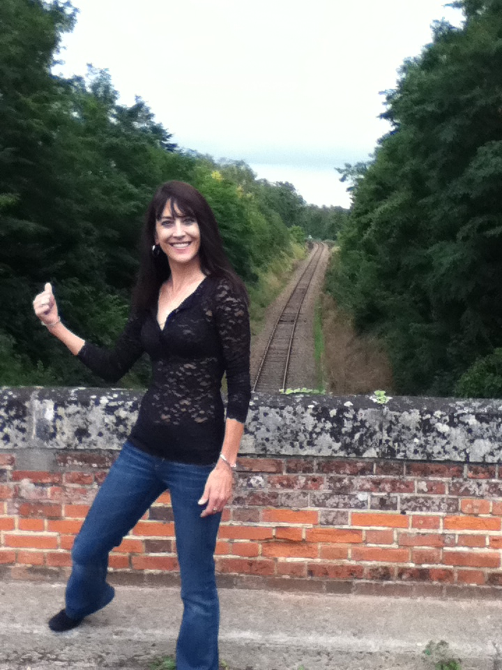 Steph at train tracks