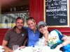 Steph Thomas and Lisa at lunch in Chinon